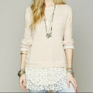 Free People Oversized Lace Trim Sweater XS/S